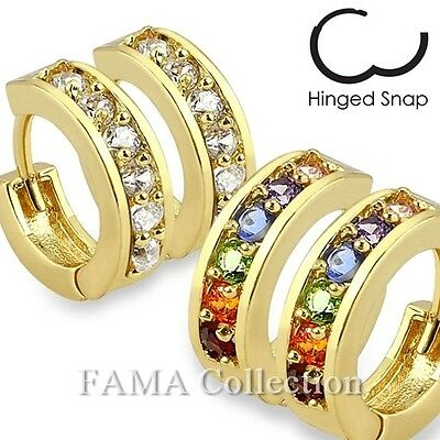 High Quality FAMA Paved CZ Gold Plated Over Brass Hoop Earrings Colour Select