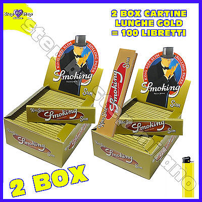 Cartine SMOKING ORO LUNGHE GOLD Slim 100 pz King Size kingsize 2 box scatola