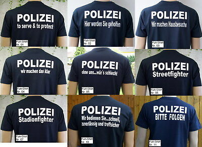 POLIZEI Fun T-Shirts in marineblau/Text in weiß, 9 versch. Motive, Gr. S bis XXL