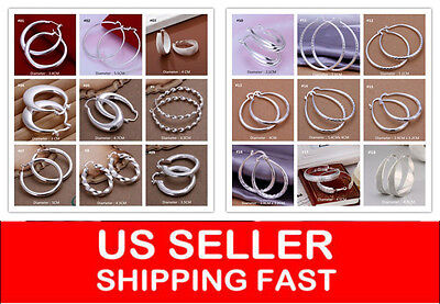 Classic Women's Round Fashion white gold plated Hoop Earrings Jewelry GIRL
