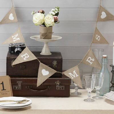 Mr and Mrs Hessian Burlap Bunting - Vintage Rustic Wedding 1.5m