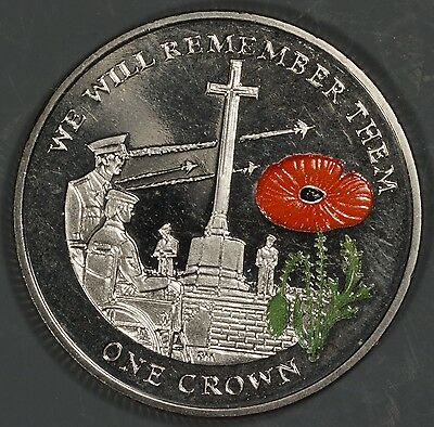 "Falkland Islands 2014 ""WWI Cross of Sacrifice"" 1 Crown Colored Enamel Coin"