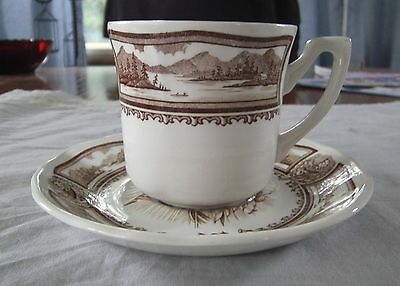 J&G MEAKIN BROWN TRANSFERWARE AMERICANA IRONSTONE ENGLAND CUP AND SAUCER SET