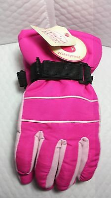 Fg Solid Snow Glove Fuchsia Size S-M Children Size Waterproof Pink Polyester