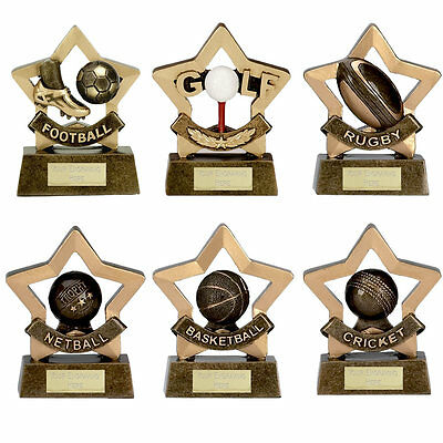 Personalised Engraved Mini Sports Trophy Award - Golf, Football, Rugby, Cricket
