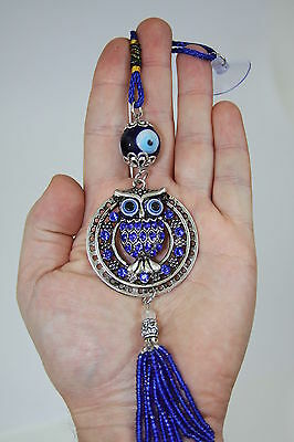 Blue Evil Eye Owl Lucky Charm Protection Tassel Hanger w/Crystals Car Feng Shui