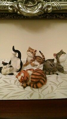 SET OF FOUR ADORABLE CAT KITTEN FIGURINES