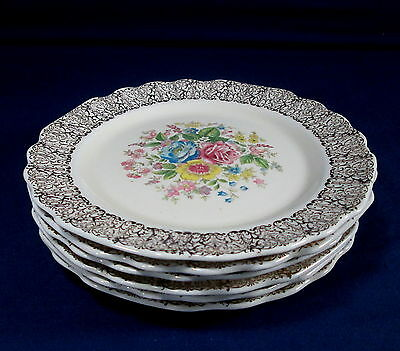 "6 W.S. George Lido Canarytone 6 3/4"" Bread Plates Dessert Gold Filigree Rose"