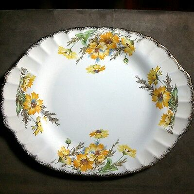 American Limoges 4KGW Yellow Daisy 22K Gold 13.75 inch Serving Platter
