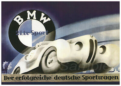 VINTAGE 1930's BMW 328 RACING A4 POSTER PRINT