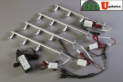 4x Retail display jewelry showcase silver LED light pole FY-53 UL power supply