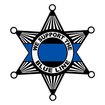 We Support The Blue Line Reflective Sheriff's Star Decal Sticker