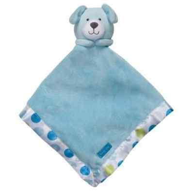 Carters Blue Dog Puppy Snuggle Buddy Security Blanket with Polka Dots