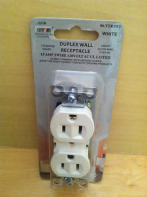 15 AMP 3 Wire 120 VOLT AC UL Listed Duplex Wall Receptacle