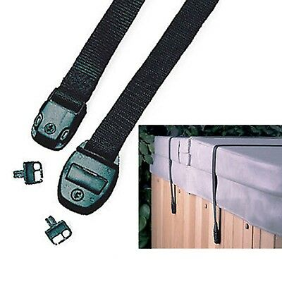 Hot Tub Cover Storm Straps x 2 Spa Safety Securestraps Pair Lid with Buckles Key