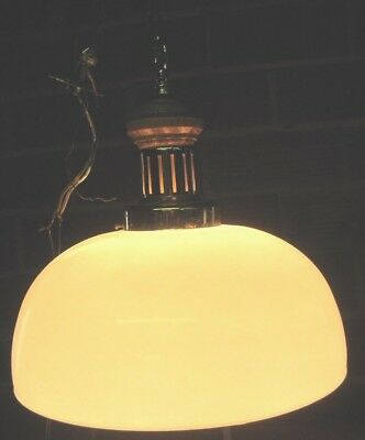 Vintage Wood Light BRASS WHITE GLASS Lamp Shade CEILING FIXTURE HANGING EAMES