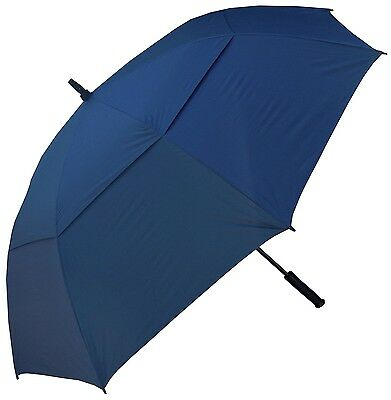 "Windbuster 60"" XL Blue Navy Rain Windproof Auto Open Double Canopy Golf Umbrella"