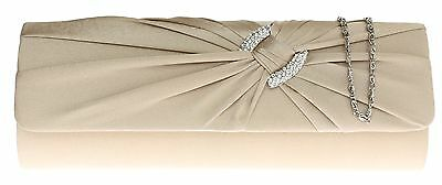 Womens Pleated Satin Clutch Bag Circle Diamante Evening Bag Prom Wedding Fashion