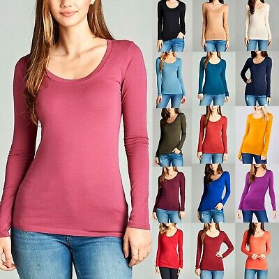 Scoop Neck Basic Long Sleeve T-Shirt Solid Cotton Stretch Womens Plain Top S M L