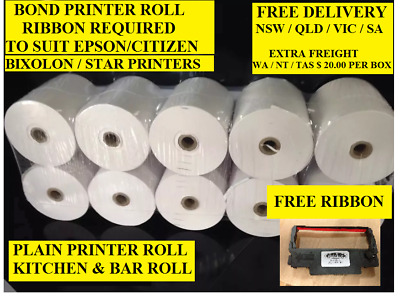 50. 76 x 76 1 PLY  BOND  POS PRINTER ROLLS  ( FREE SHIPPING NSW, SA, VIC, QLD )