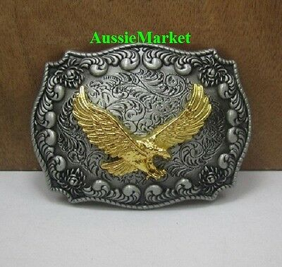 1 x mens ladies belt buckle metal jeans gold american eagle bird usa u.s gift