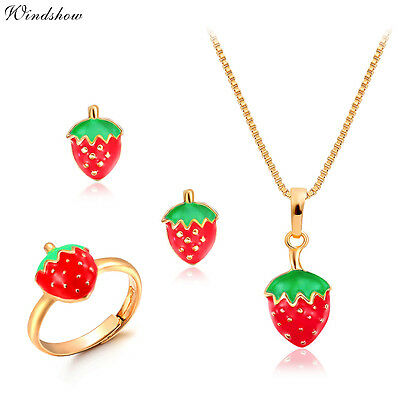 Kids Girl 18K Gold Filled Strawberry Earrings Ring Pendant Necklace Jewelry Sets