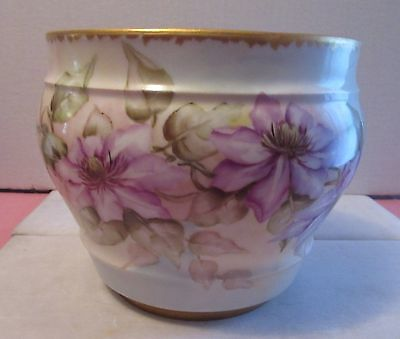 A.K. Klingenberg Limoges Hand Painted Jardiniere, Signed M.A. Todd, Dated 1896