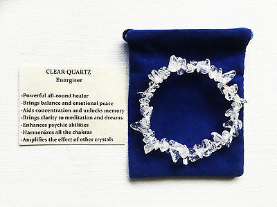 Clear Quartz Crystal Gemstone Bracelet Chip Beads Stretch Chakra Meditation
