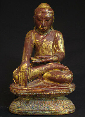Wooden Buddha Statue from Burma | Antique Wooden sitting Buddha Statue for sale