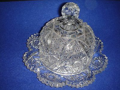 ANTIQUE AMERICAN BRILLIANT CUT GLASS BUTTER DISH/PLATE & DOME CRAFTED 1880-1910