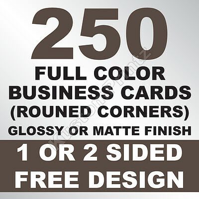 250 Custom Full Color Business Cards | 16Pt | Rounded Corners | Free Design