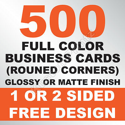 500 Custom Full Color Business Cards | 16Pt | Rounded Corners | Free Design
