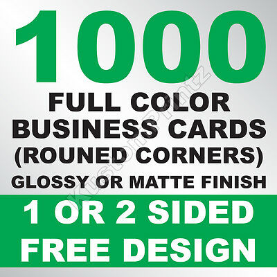 1000 Custom Full Color Business Cards | 16Pt | Rounded Corners | Free Design