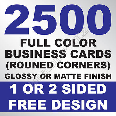 2500 Custom Full Color Business Cards | 16Pt | Rounded Corners | Free Design