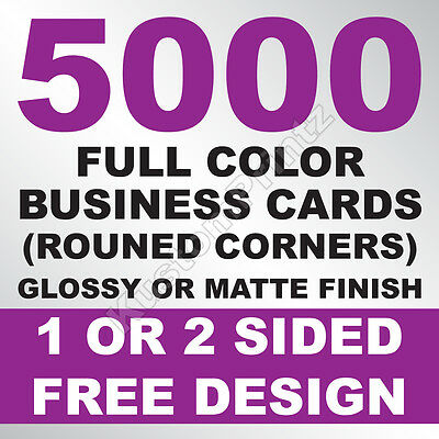 5000 CUSTOM FULL COLOR BUSINESS CARDS   16PT   ROUNDED CORNERS   FREE DESIGN