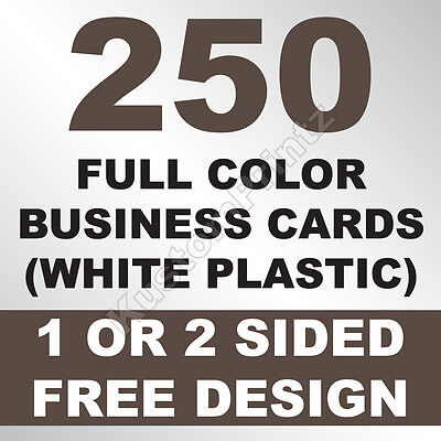 250 Custom Full Color Plastic Business Cards | Rounded Corners | Free Design