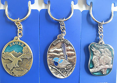 Souvenir Key Ring Aust Made Pewter Alloy Kooka Wren Eagle Croc Platypus Dolphin