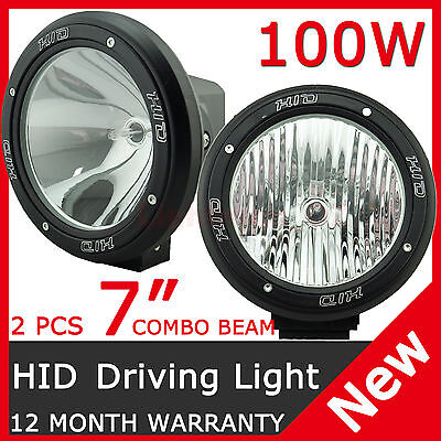 """2PCS 100W 7"""" HID XENON DRIVING LIGHTS SPOT & EURO COMBO BEAM OFF ROAD 7 inch 4WD"""
