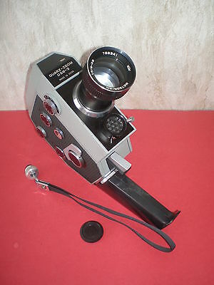 """Old Russian movie camera """"Quartz-DS8 -3"""" with lens Meteor-8M f:1.8/9-38mm by KMZ"""