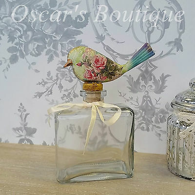 Glass Perfume Bottle Bird Shabby Chic Vintage Style Dressing Table Gift