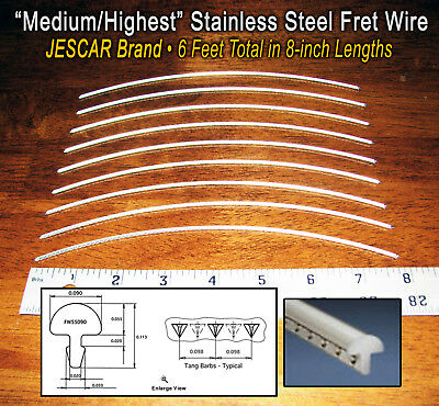 6ft Jescar Medium/Highest STAINLESS STEEL Frets/Fret Wire for Guitars & More!