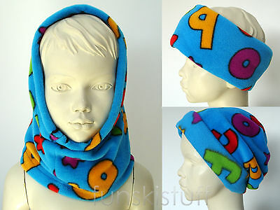 Snood Girls Boys Kids BLUE LETTERS ALPHABET fleece neck warmer scarf hat school