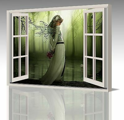 """40x20"""" LARGE FAIRY WINGS & FLOWERS IN THE GREEN FOREST WINDOW CANVAS ART PICTURE"""