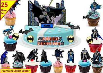 Batman Action Cup Cake Scene Topper Edible Wafer Birthday Party Stand up CUSTOM