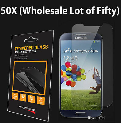50x Wholesale Lot Tempered Glass Screen Protector for Samsung Galaxy S4 Retail