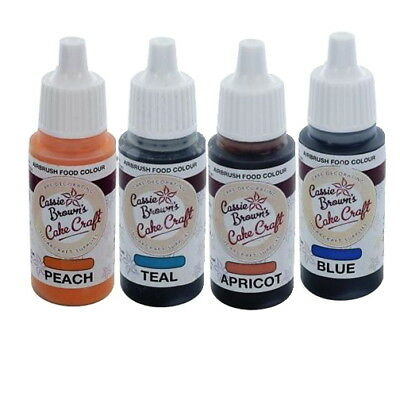 Genuine Cassie Brown Cake Decorating Airbrush Food Colours Set of 12