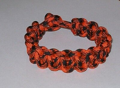 "HANDMADE in USA cobra braid PARACORD bracelet orange & black 8"" kids friendship"