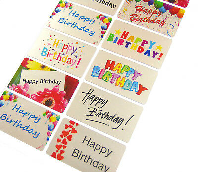 Silver Happy Birthday Stickers, Colourful Labels for Cards & Envelopes - HBS5230