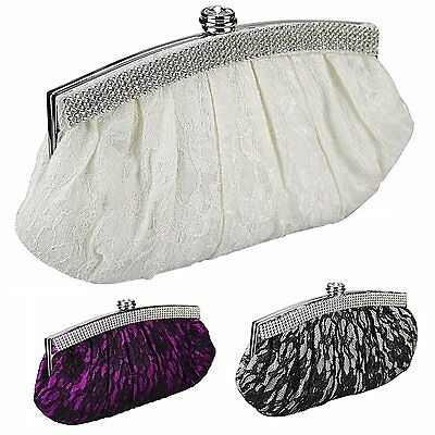 White Purple Ivory Satin Lace Crystal Wedding Prom Party Evening Clutch Bag 216