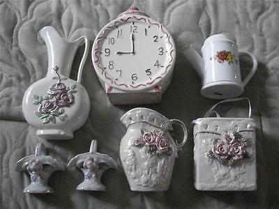 VINTAGE LOT OF 7 COLLECTIBLE PORCELAIN BASKETS, PITCHERS, GIFTBAG, & CLOCK,